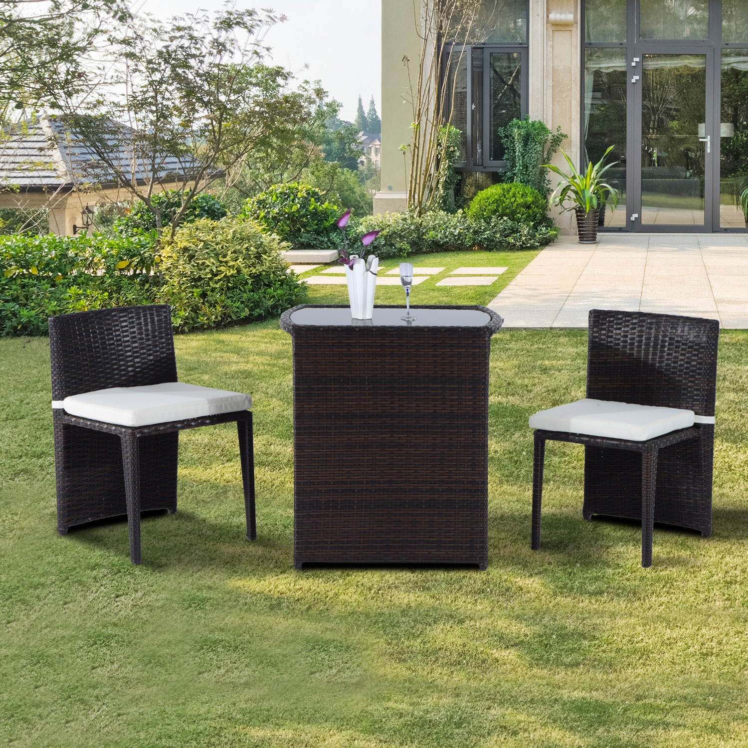 Best ideas about Outsunny Patio Furniture . Save or Pin Outsunny 3pcs Outdoor Wicker Rattan Bistro Set Patio Chair Now.