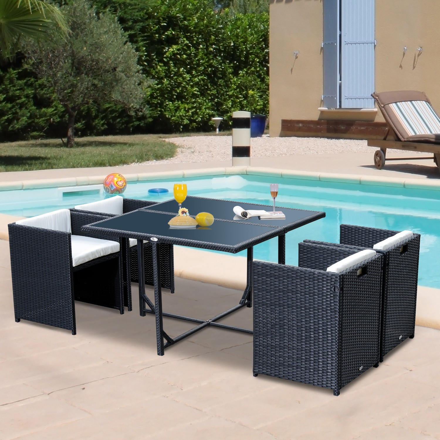 Best ideas about Outsunny Patio Furniture . Save or Pin Outsunny 5pcs Rattan Wicker Dining Sofa Table Set Outdoor Now.