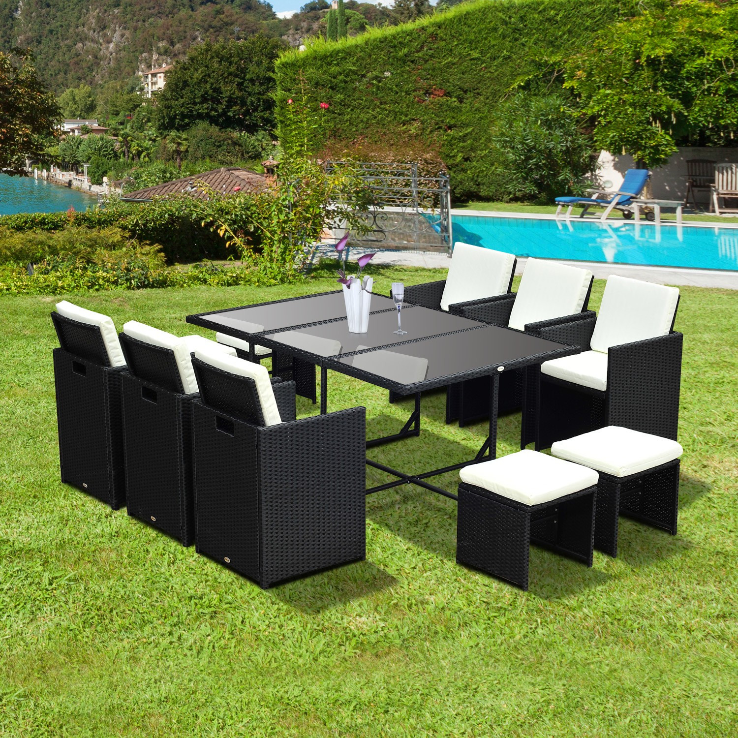 Best ideas about Outsunny Patio Furniture . Save or Pin Outsunny 11 Piece Outdoor PE Rattan Wicker Table and Chair Now.