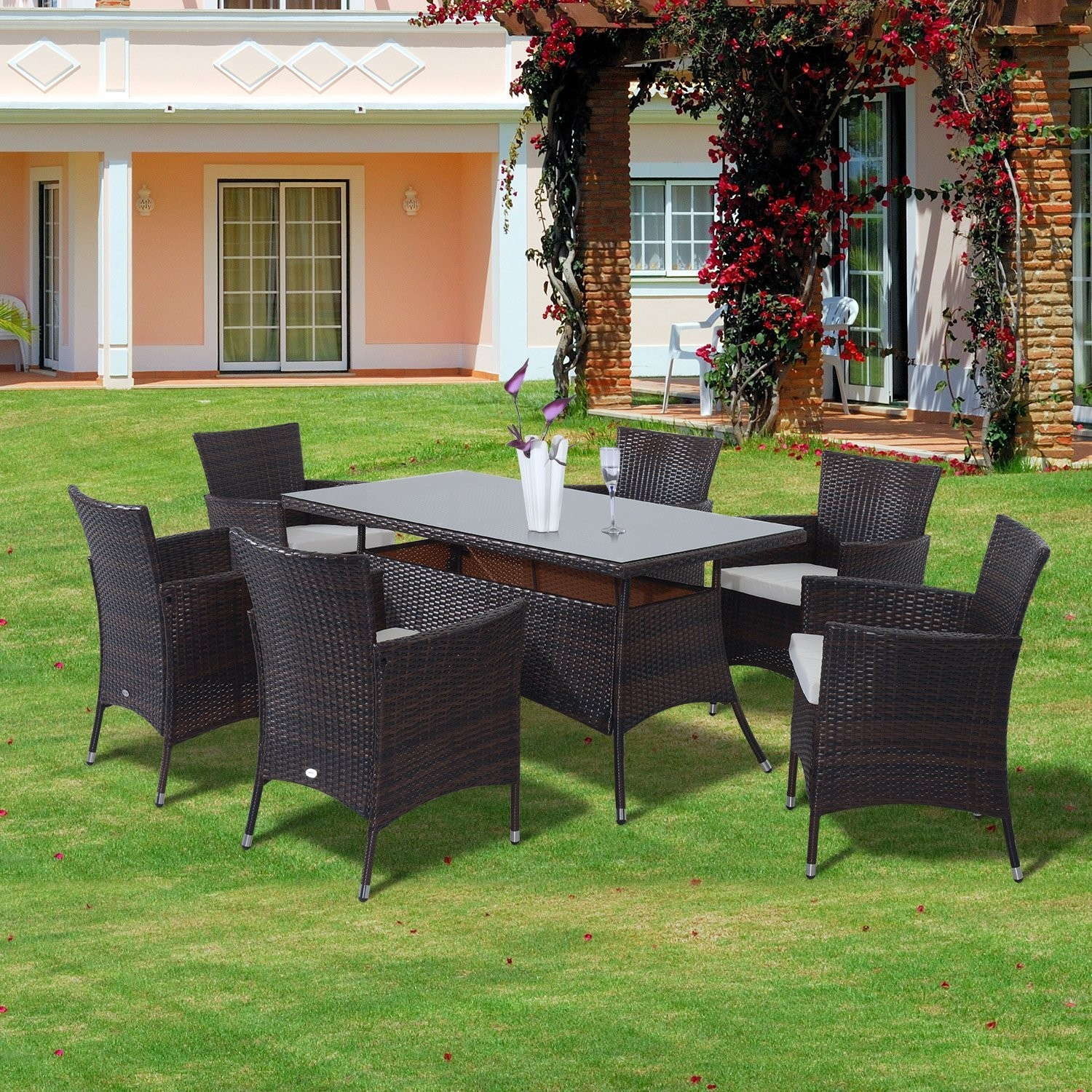 Best ideas about Outsunny Patio Furniture . Save or Pin Outsunny 7 Pcs Rattan Dining Set Brown Now.