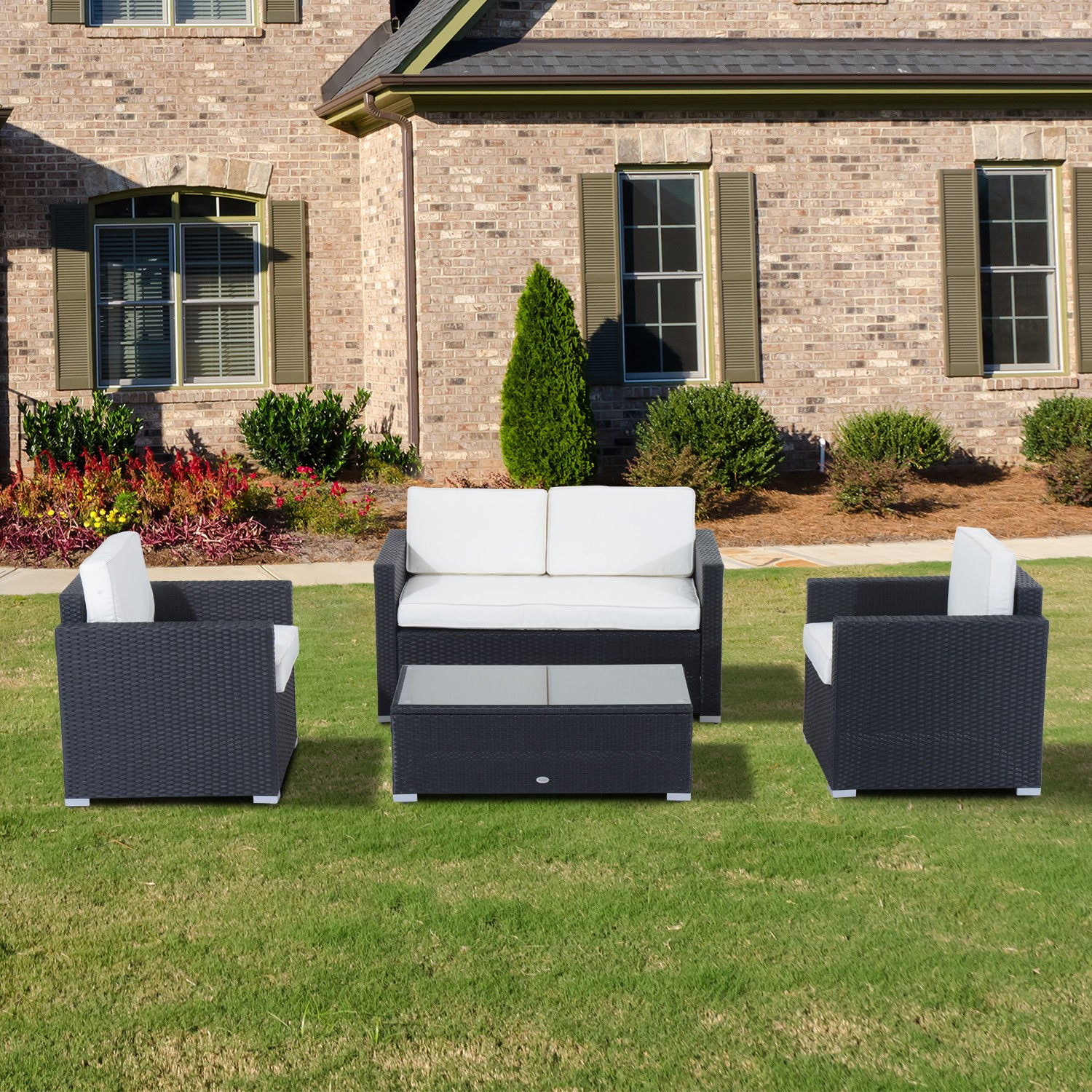 Best ideas about Outsunny Patio Furniture . Save or Pin Outsunny 4pc Outdoor Rattan Sofa Patio Furniture Set Now.