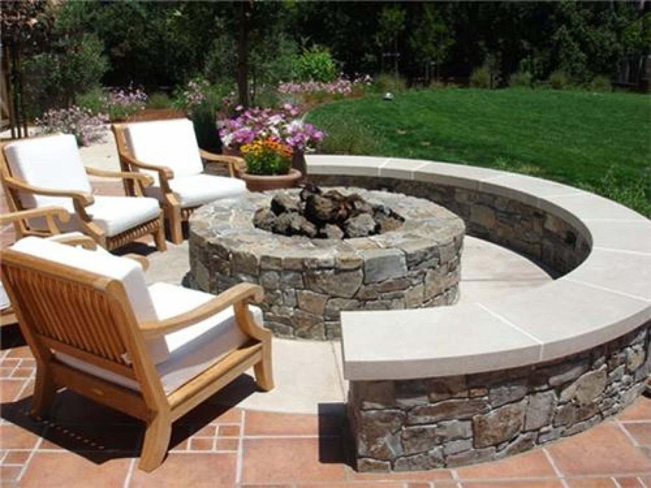 Best ideas about Patio Fire Pit . Save or Pin Round outdoor tables and chairs outdoor fire pit ideas Now.