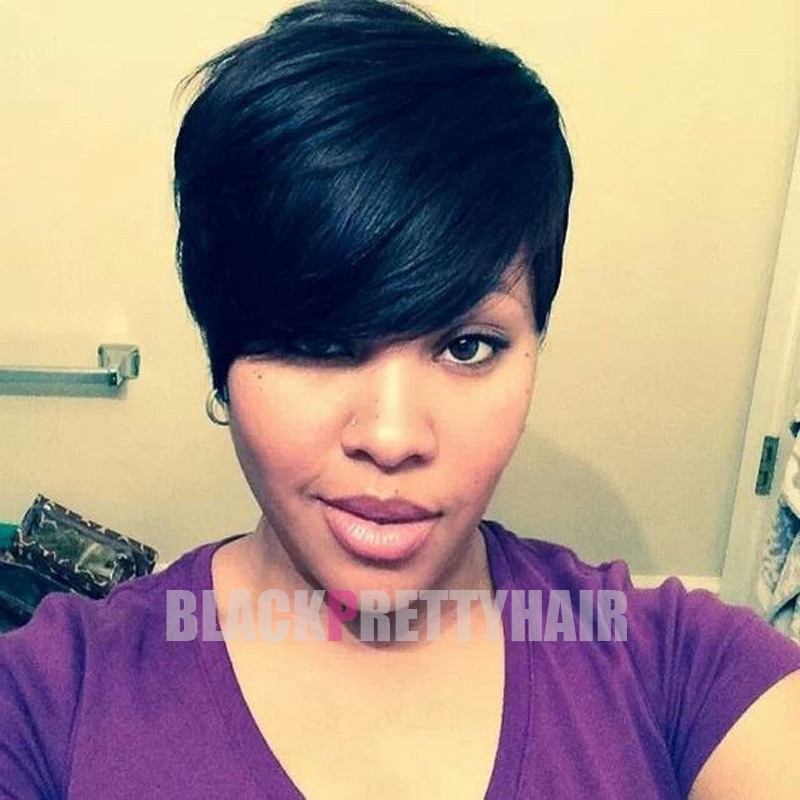 Best ideas about Pixie Cut On Natural Black Hair . Save or Pin Human Natural Hair Fashion Long Bangs Short Women Now.