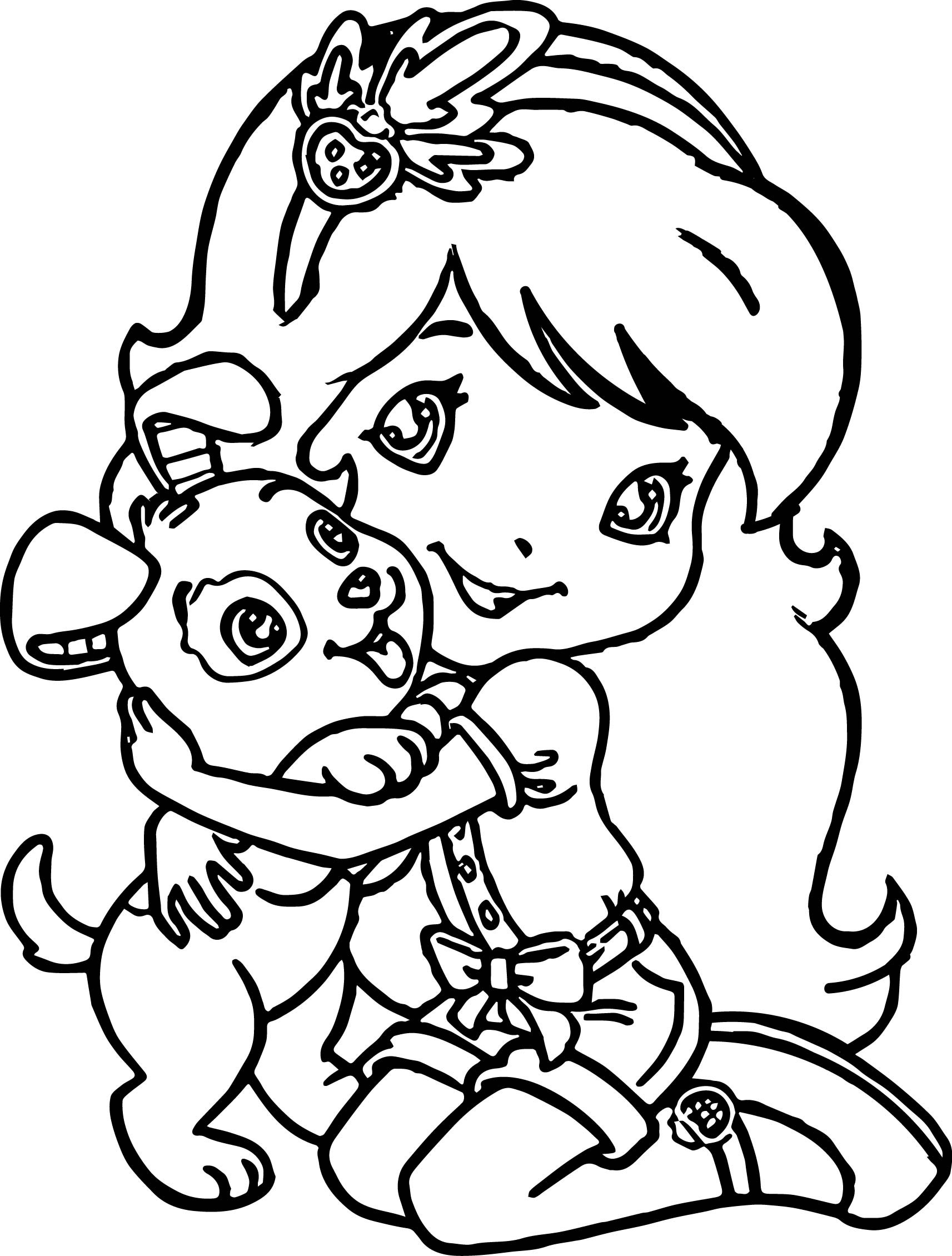 Best ideas about Puppy Coloring Sheets For Girls . Save or Pin Strawberry Girl Love Dog Coloring Page Now.