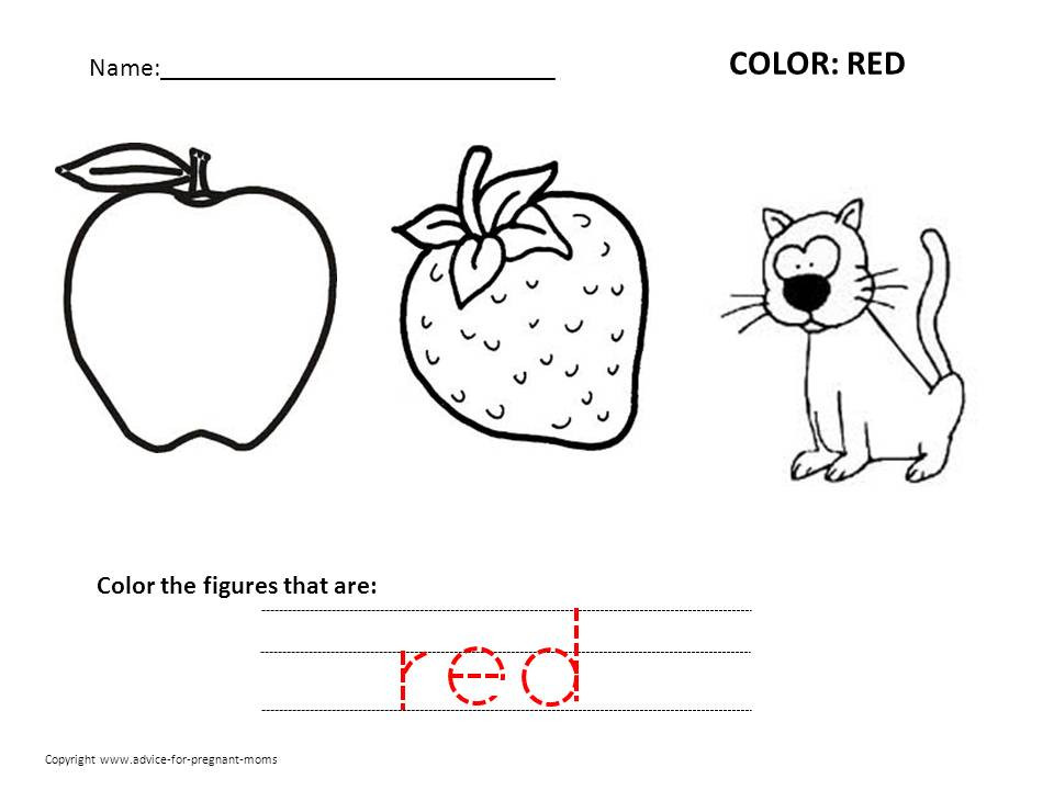 Best ideas about Red Coloring Pages For Kids . Save or Pin Color Word Recognition Worksheets For Kindergarten Now.