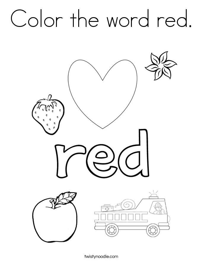 Best ideas about Red Coloring Pages For Kids . Save or Pin Color the word red Coloring Page Twisty Noodle Now.