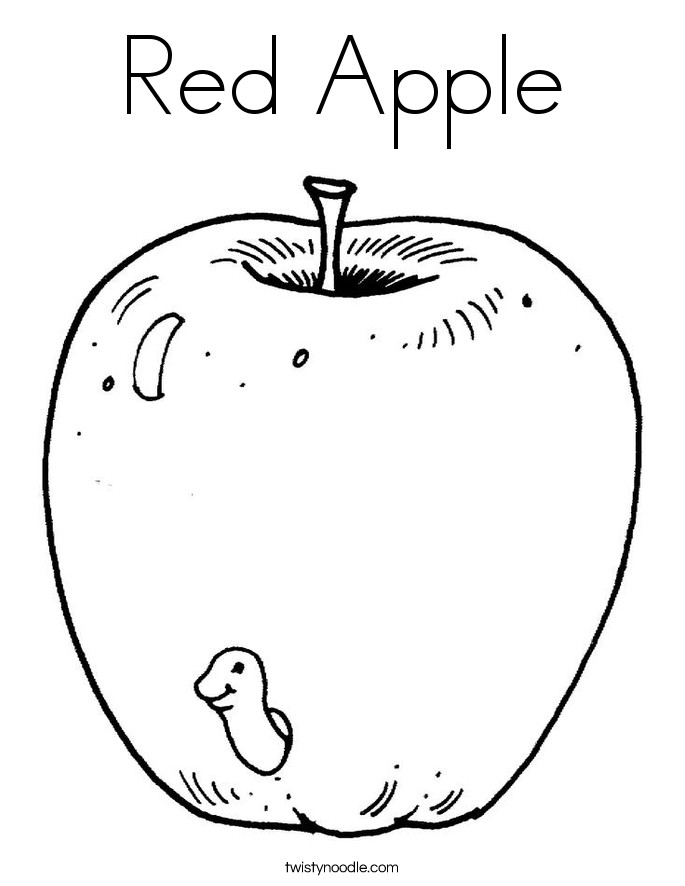 Best ideas about Red Coloring Pages For Kids . Save or Pin Red Apple Coloring Page Twisty Noodle Now.