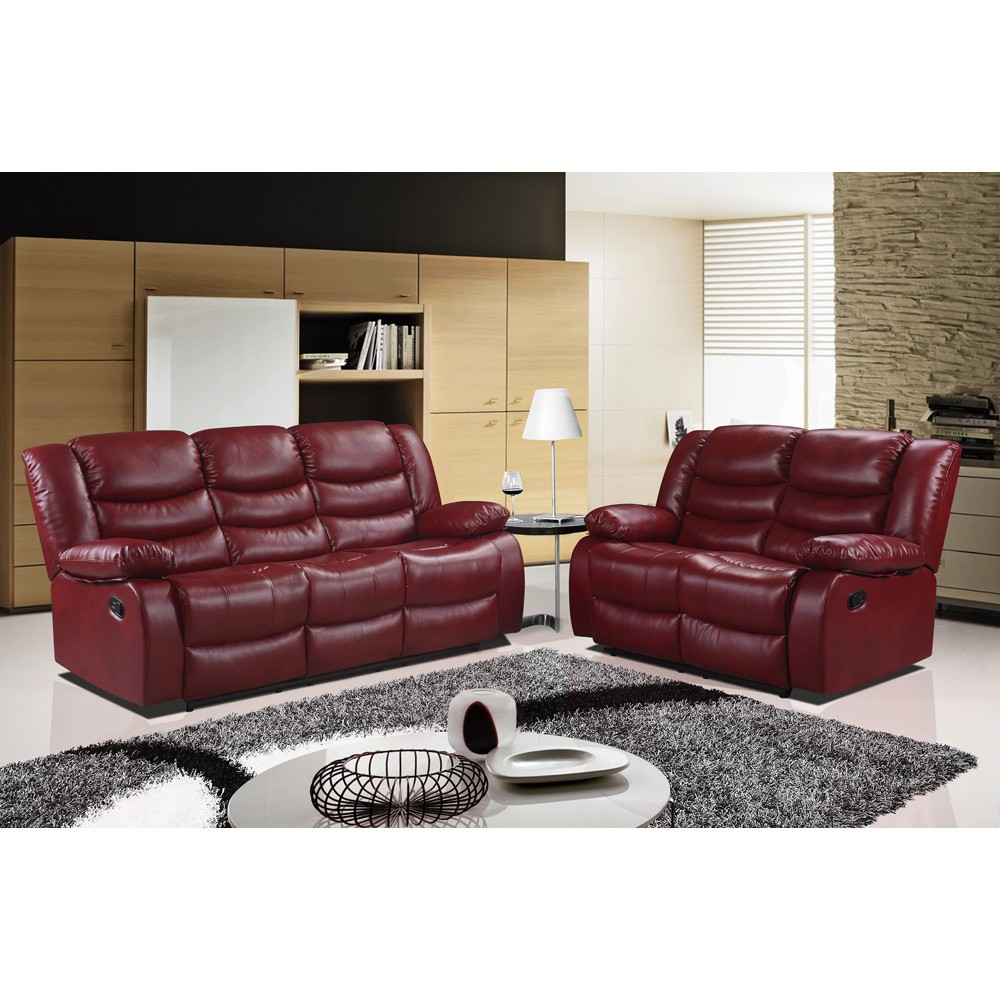 Best ideas about Red Recliner Sofa . Save or Pin Belfast Cranberry Red Recliner Sofa Collection in Bonded Now.