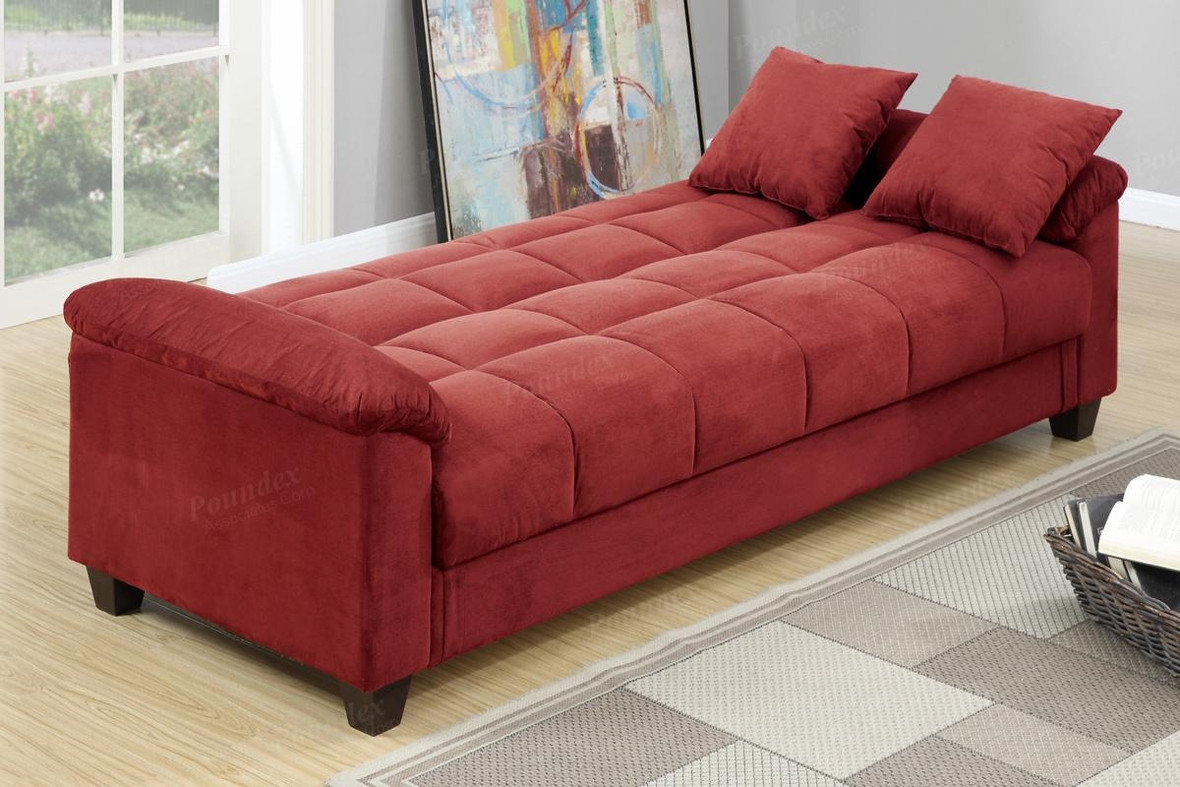 Best ideas about Red Sofa Beds . Save or Pin Poundex Gertrude F7890 Red Fabric Sofa Bed Steal A Sofa Now.