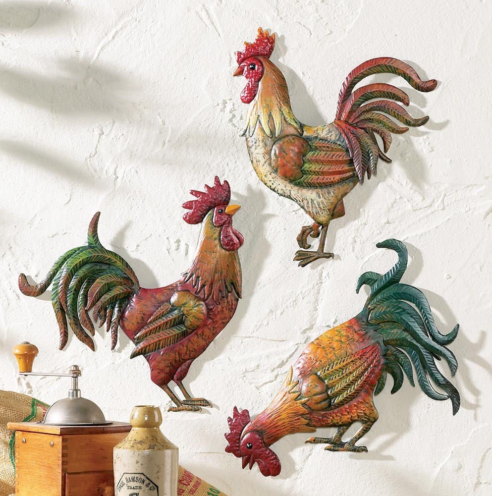 Best ideas about Rooster Kitchen Decor . Save or Pin Country Kitchen Rooster Theme Decor Set 3 Metal Rooster Now.