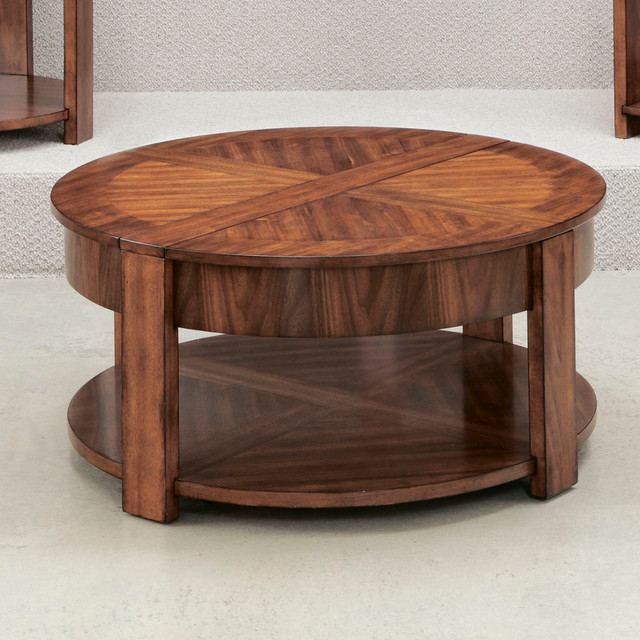 Best ideas about Round Lift Top Coffee Table . Save or Pin Hammary Maxim Round Lift Lid Cocktail Table in Russet Now.