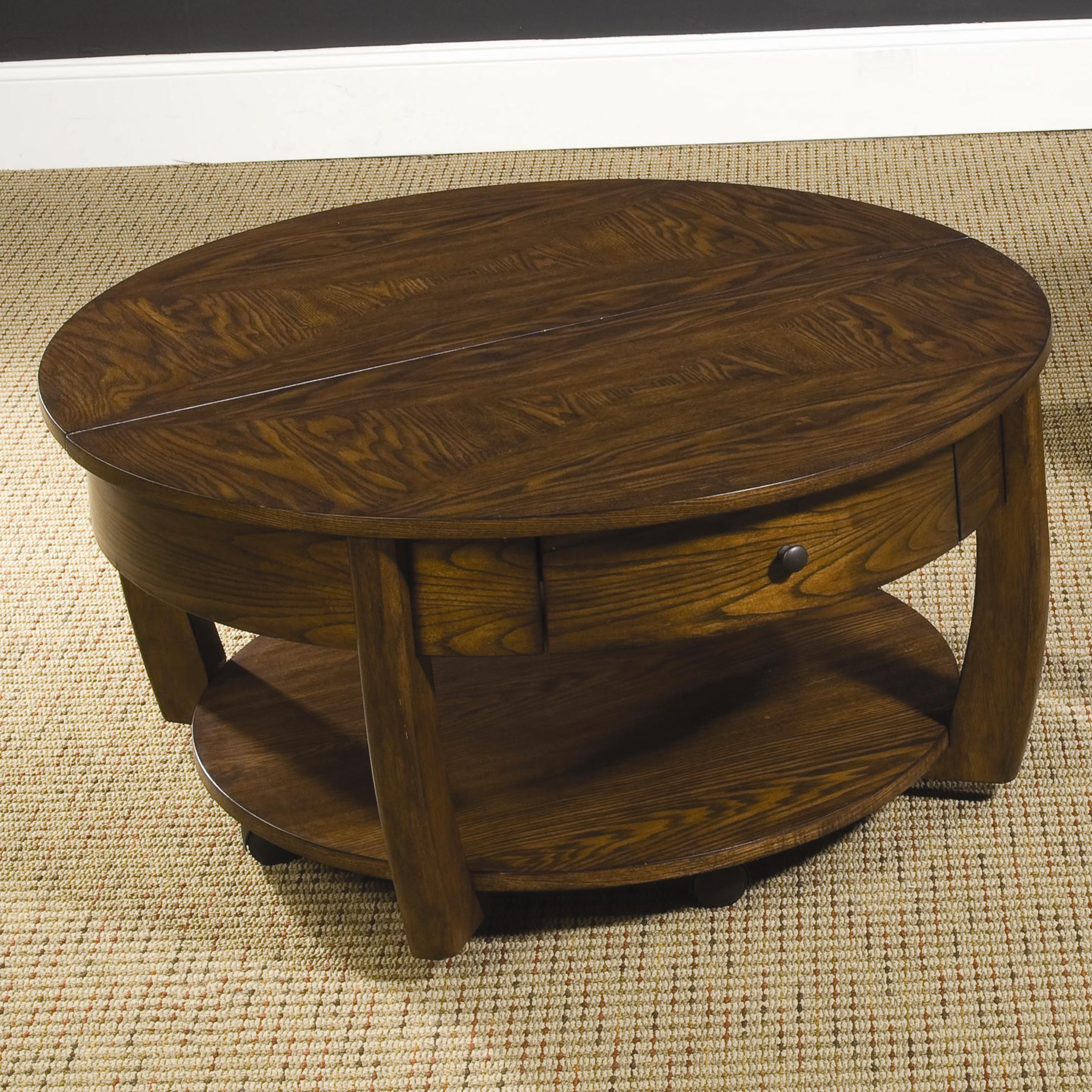 Best ideas about Round Lift Top Coffee Table . Save or Pin Round Lift Top Cocktail Table with Lower Shelf and Drawer Now.
