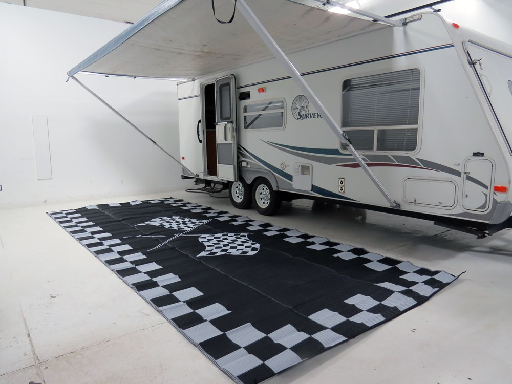 Best ideas about Rv Patio Mat 8X20 . Save or Pin Faulkner RV Mat Finish Line Black and White 8 x 20 Now.