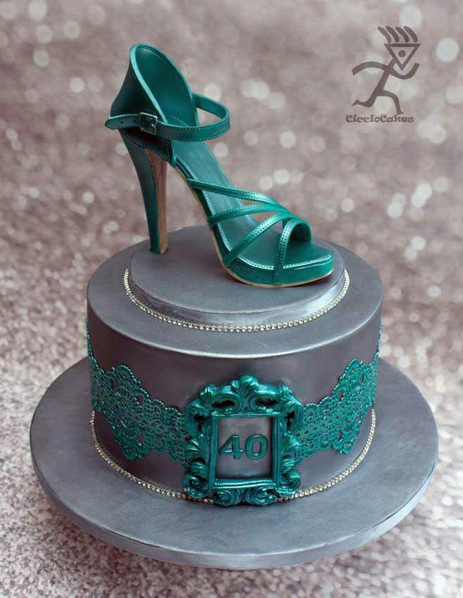 Best ideas about Shoes Birthday Cake . Save or Pin Turquoise and grey high heel shoe cake Now.