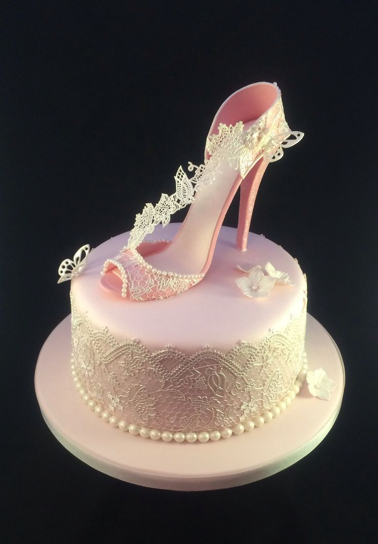 Best ideas about Shoes Birthday Cake . Save or Pin Shoe Cake Pretty pink shoe birthday cake with Cake Lace Now.
