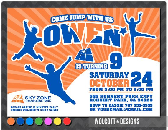 Best ideas about Sky Zone Birthday Party Coupons . Save or Pin Trampoline party invitation bounce house invitation Now.