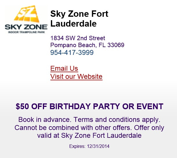 Best ideas about Sky Zone Birthday Party Coupons . Save or Pin Sky Zone Ft Lauderdale The Perfect Place To Have A Party Now.