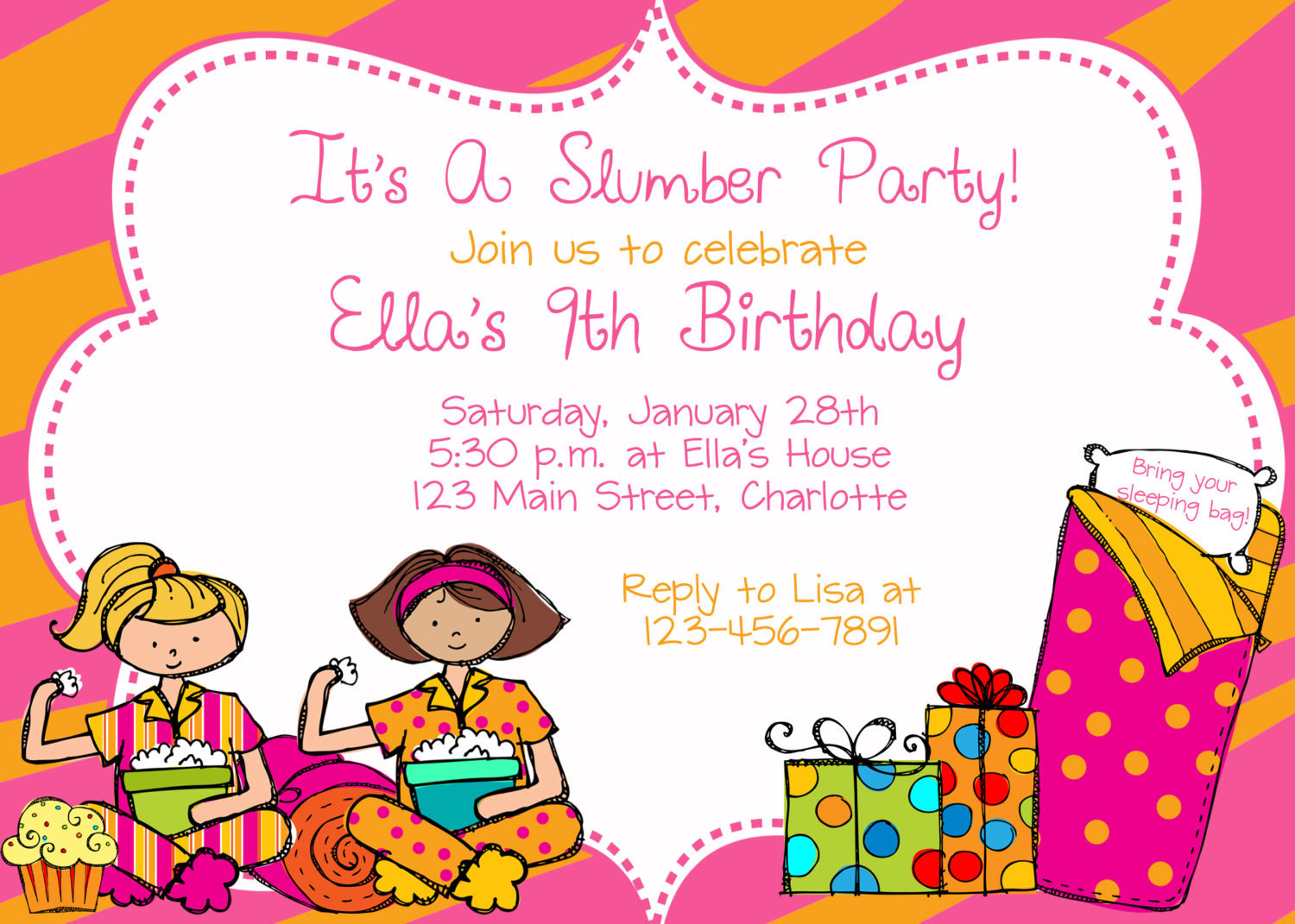 Best ideas about Sleepover Birthday Party . Save or Pin Slumber party birthday party invitation slumber party Now.