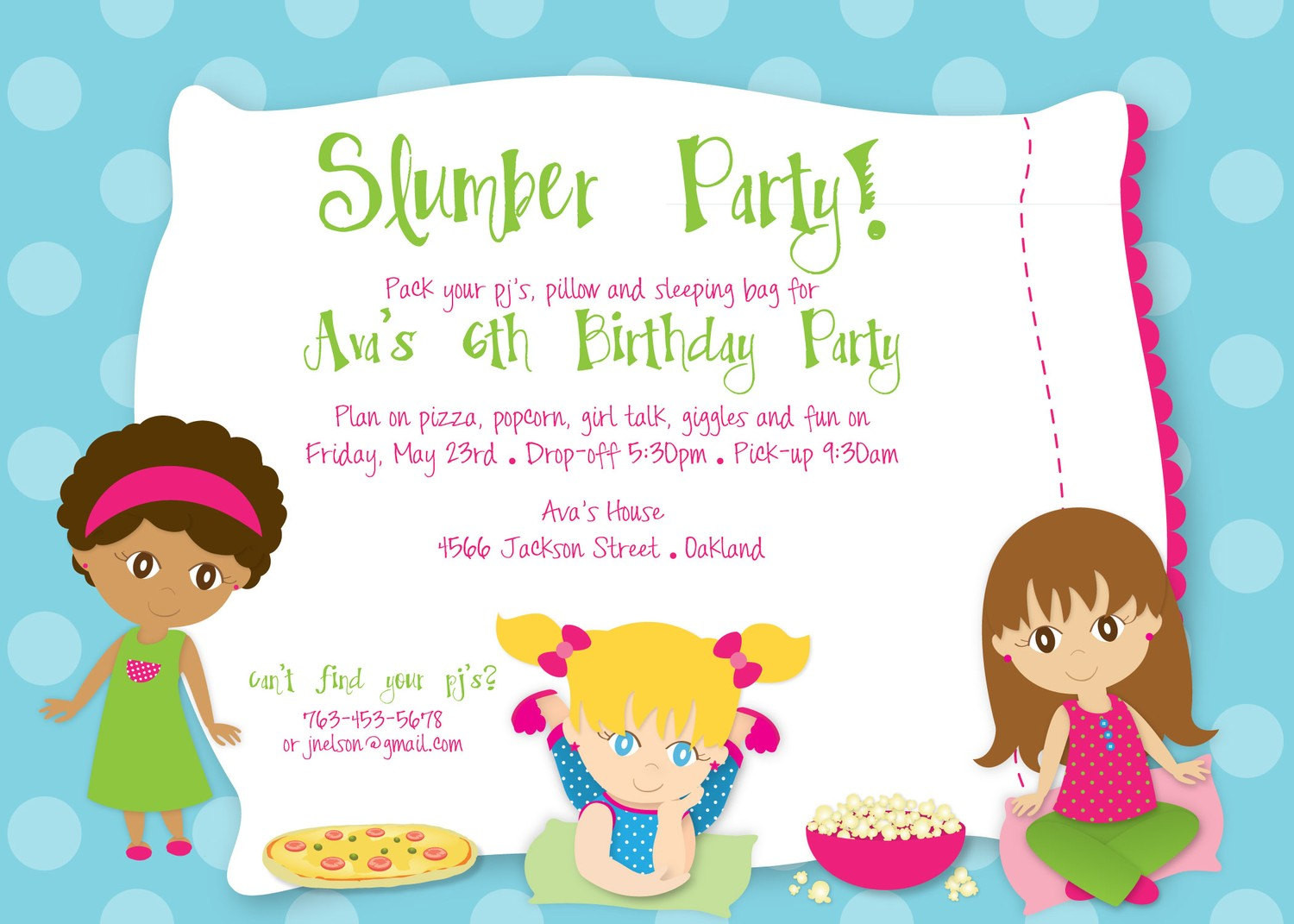 Best ideas about Sleepover Birthday Party . Save or Pin Slumber Party Birthday Custom DIGITAL by KimNelsonCreative Now.