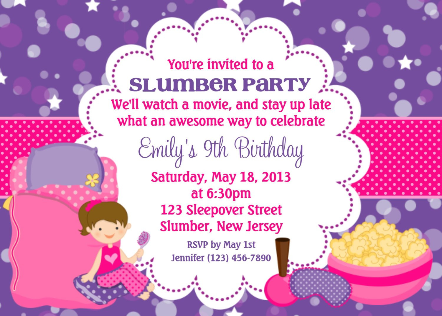 Best ideas about Sleepover Birthday Party . Save or Pin Slumber Party Invitation Personalized Custom Sleepover Now.