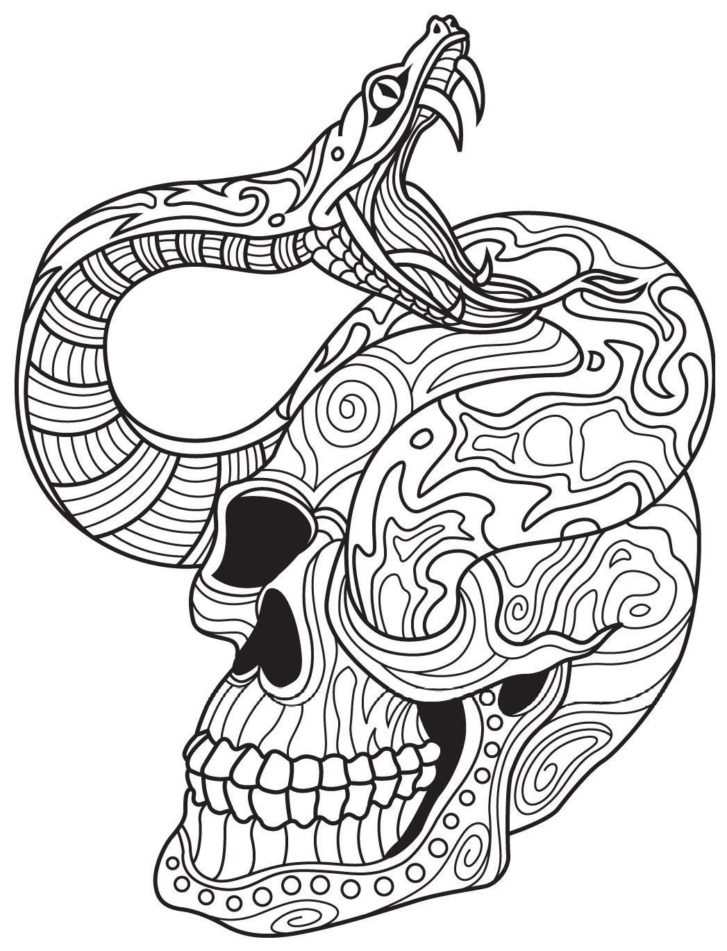 Best ideas about Snake Coloring Pages For Adults . Save or Pin Snake and Skull Now.