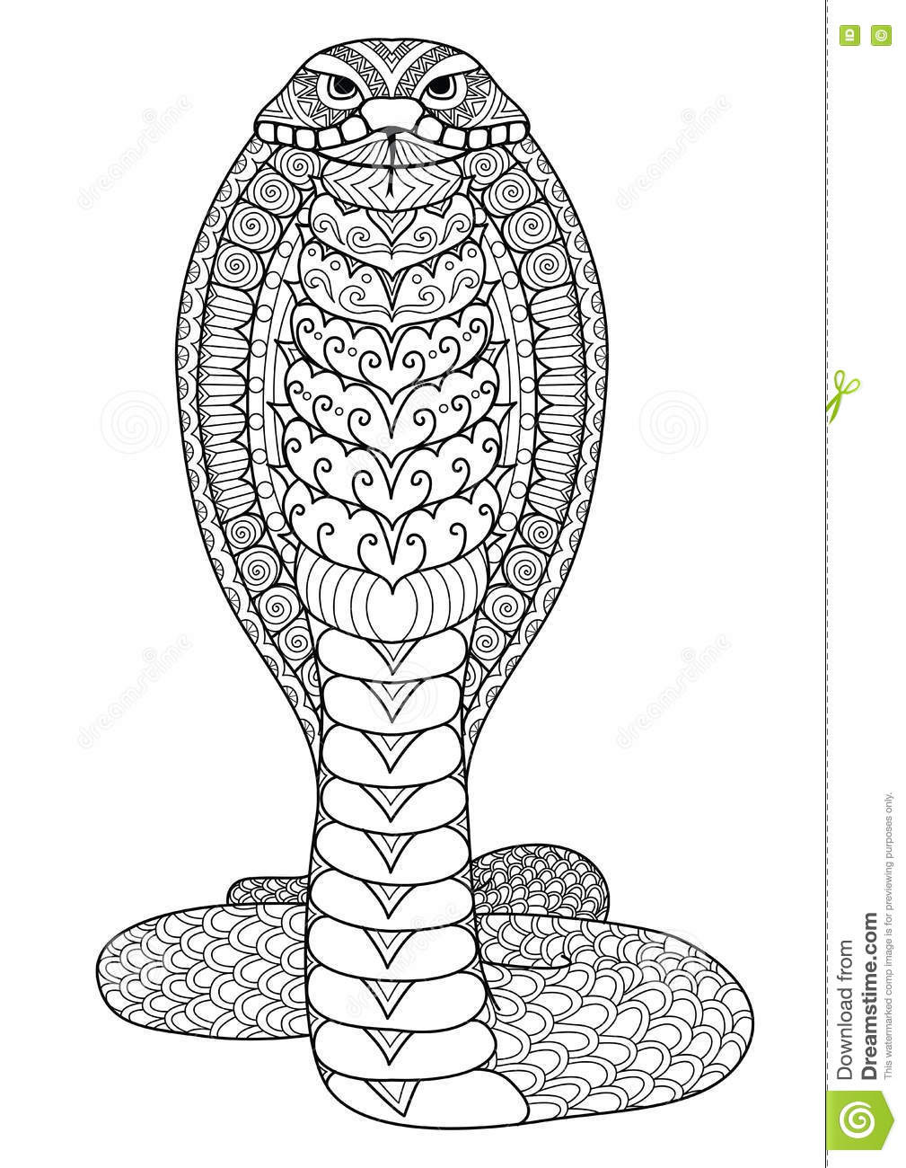 Best ideas about Snake Coloring Pages For Adults . Save or Pin Clean Lines Doodle Art Design Cobra Snake For Coloring Now.