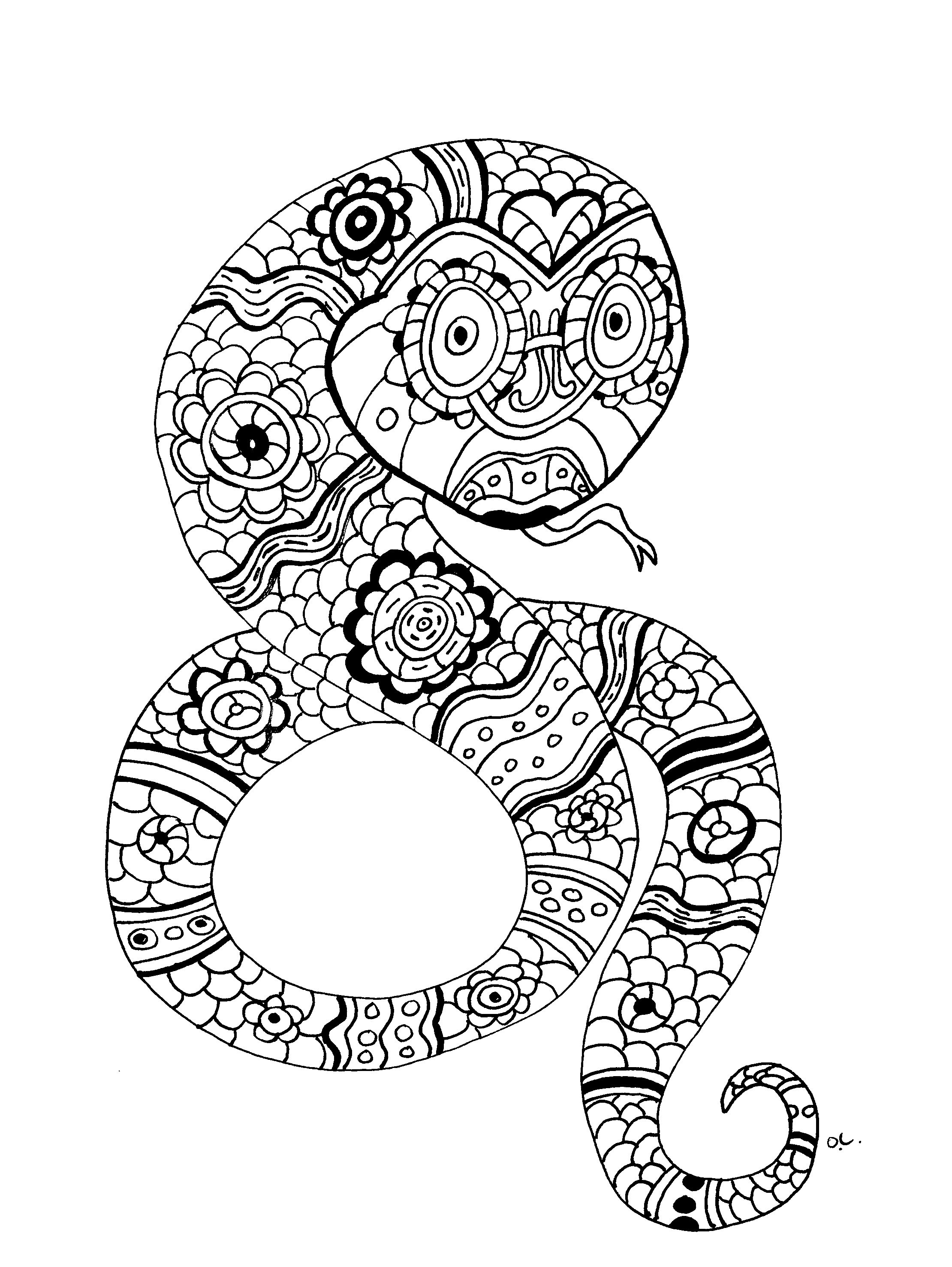 Best ideas about Snake Coloring Pages For Adults . Save or Pin Snake Mandala Coloring Pages Download Now.