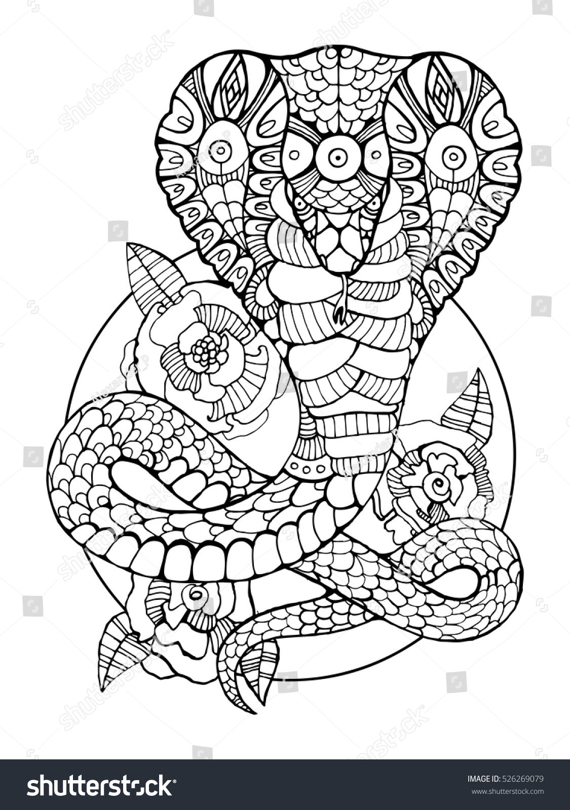 Best ideas about Snake Coloring Pages For Adults . Save or Pin Cobra Snake Coloring Book Adults Vector Stock Vector Now.