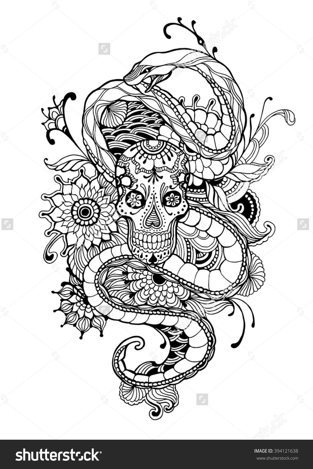 Best ideas about Snake Coloring Pages For Adults . Save or Pin Skull And Snake Adult Coloring Page Vector Illustration Now.