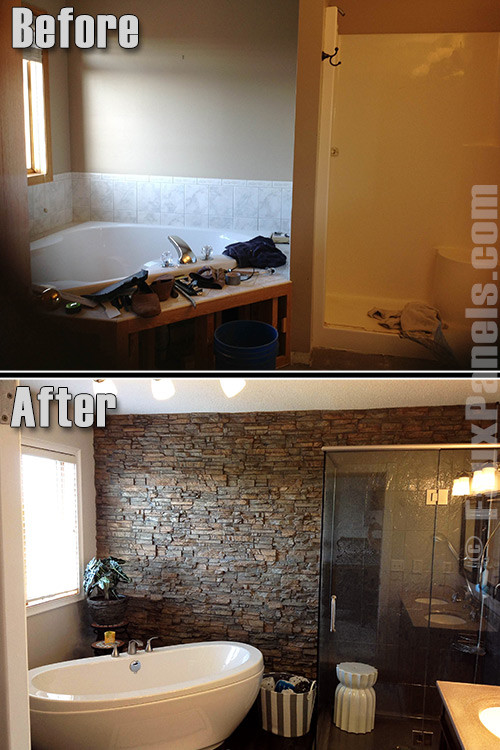 Best ideas about Stacked Stone Accent Wall . Save or Pin Bathrooms on a Bud Featured Remodels Now.