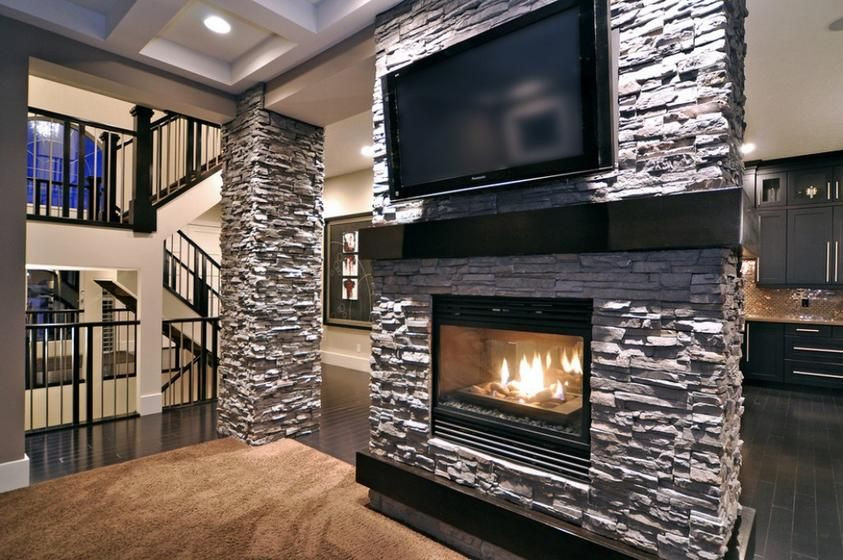 Best ideas about Stacked Stone Accent Wall . Save or Pin stacked stone accent wall with flat screen tv and Now.