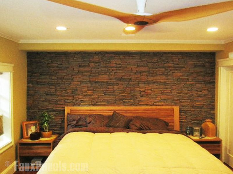 Best ideas about Stacked Stone Accent Wall . Save or Pin Bedroom Remodel with Stacked Stone Wall Now.