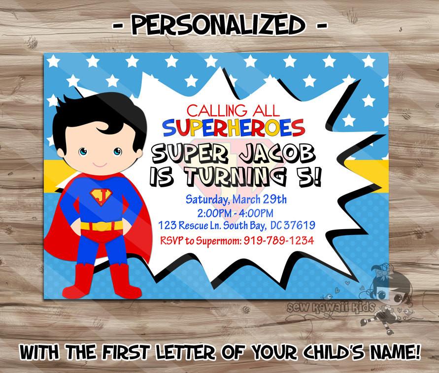 Best ideas about Superman Birthday Invitations . Save or Pin SUPERMAN Birthday Invitation Personalized Superman Invite Now.