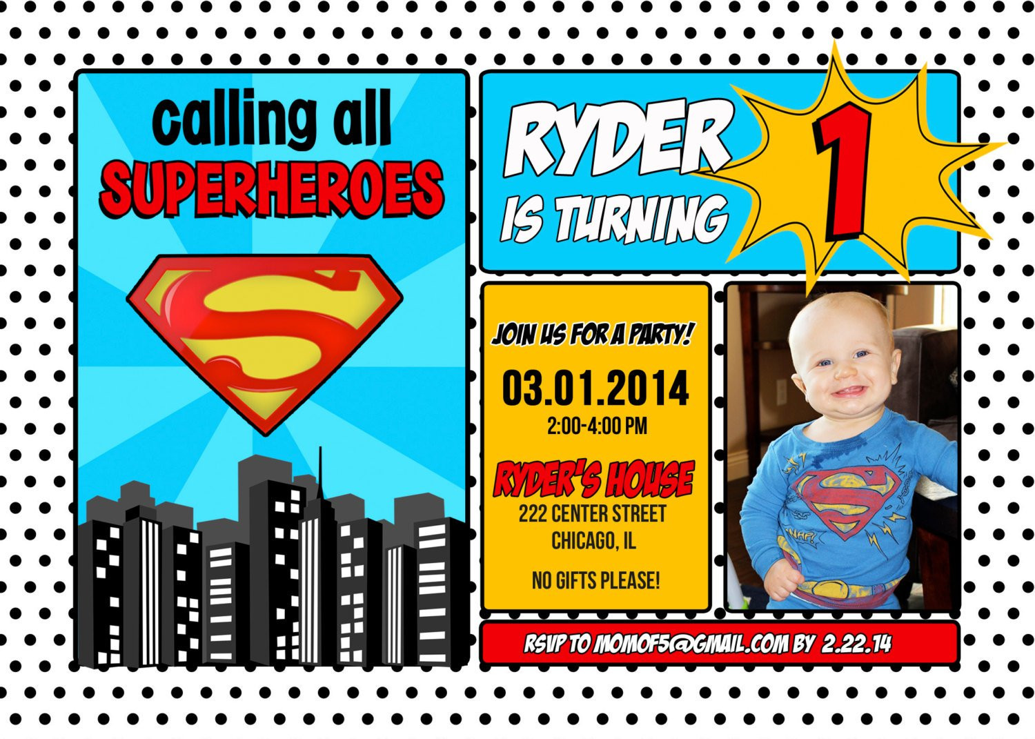 Best ideas about Superman Birthday Invitations . Save or Pin Superman Superhero Birthday Invitation 1st 2nd 3rd 4th Now.
