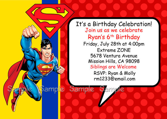 Best ideas about Superman Birthday Invitations . Save or Pin Superman Birthday Invitations Ideas – Bagvania FREE Now.