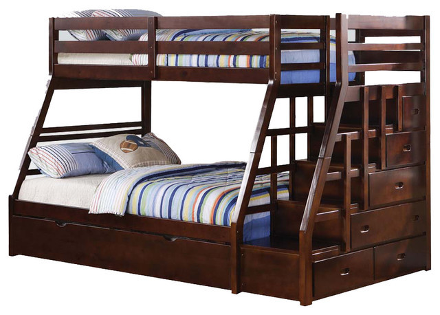 Best ideas about Twin Over Twin Bunk Bed With Stairs . Save or Pin Espresso Wood Stairway Chest Twin Over Full Bunk Bed w Now.