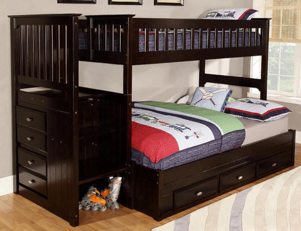 Best ideas about Twin Over Twin Bunk Bed With Stairs . Save or Pin Twin over Full Loft Bed with Stairs Storage and Desk Now.
