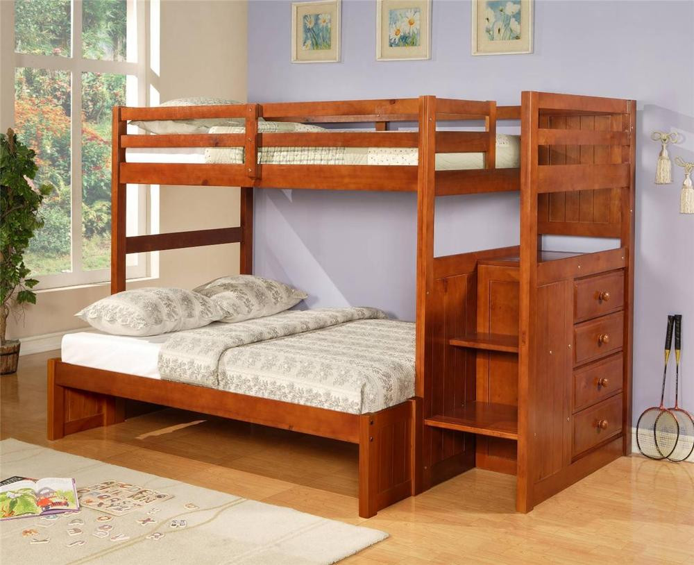 Best ideas about Twin Over Twin Bunk Bed With Stairs . Save or Pin Twin over Full Mission Stairway Bunk Bed Espresso Now.