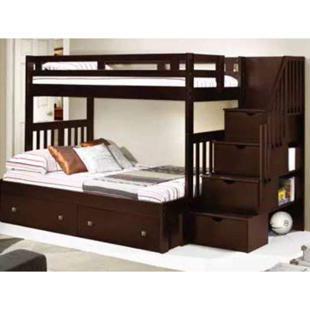 Best ideas about Twin Over Twin Bunk Bed With Stairs . Save or Pin Twin Over Full Stairway Bunk Bed Cappuccino Now.