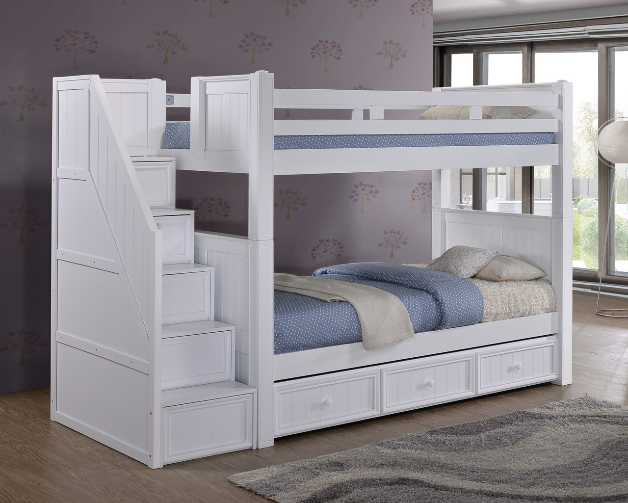 Best ideas about Twin Over Twin Bunk Bed With Stairs . Save or Pin Dillon Twin over Twin Wood Bunk Bed with Reversible Now.