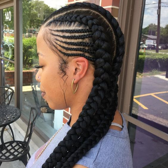 Best ideas about Two Braids Hairstyles With Weave . Save or Pin 2 Goddess Braids with Weave Now.