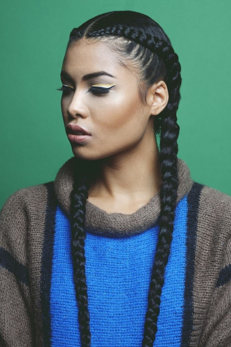 Best ideas about Two Braids Hairstyles With Weave . Save or Pin Two Cornrows Braids With Weave Natural Hairstyles Now.