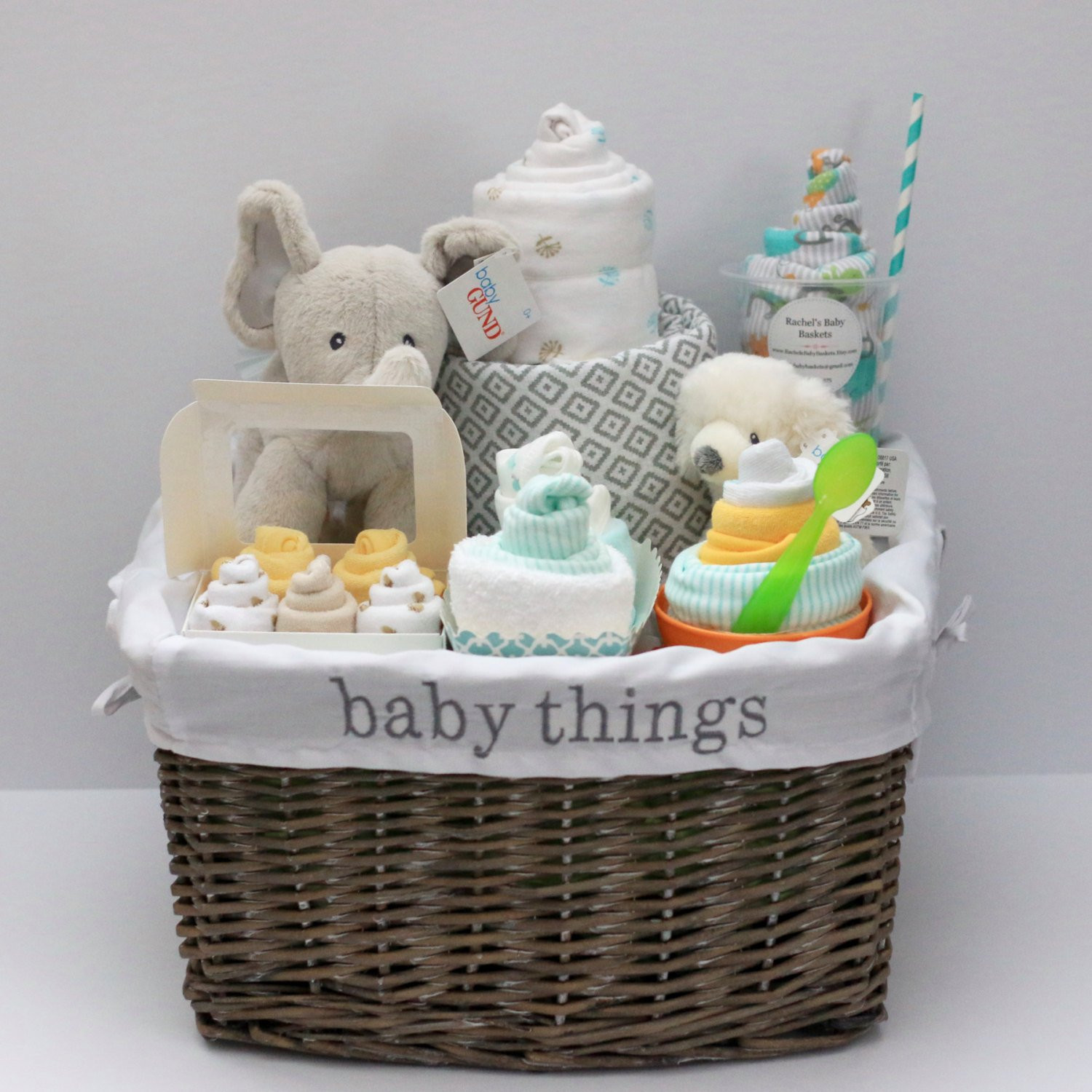 Best ideas about Unisex Baby Gift Ideas . Save or Pin Gender Neutral Baby Gift Basket Baby Shower Gift Unique Baby Now.