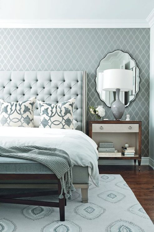 Best ideas about Wallpaper Accent Wall Bedroom . Save or Pin Blue and Gray Bedroom Contemporary bedroom Chatelaine Now.