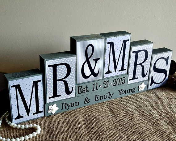 Best ideas about Wedding Gift Ideas For Young Couple . Save or Pin Personalized Mr and Mrs Wedding Sign Wooden Blocks Now.