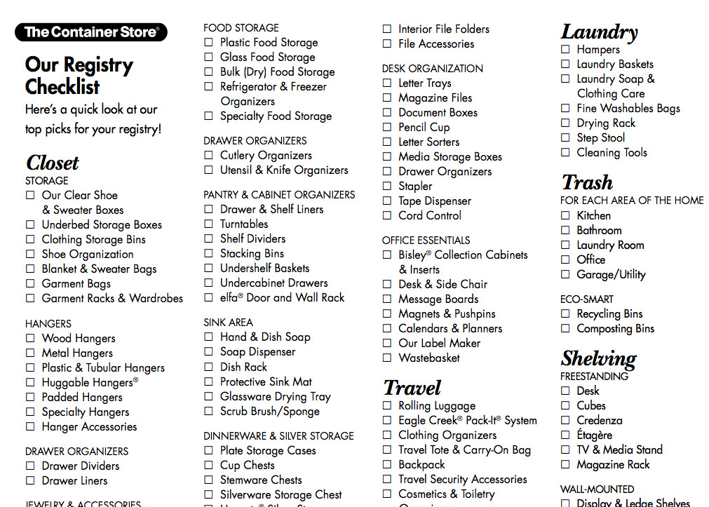 Best ideas about Wedding Gift Registry Ideas . Save or Pin Wedding registry checklist from the Container Store Now.