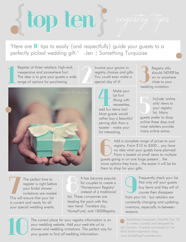 Best ideas about Wedding Gift Registry Ideas . Save or Pin TOP 10 Now.