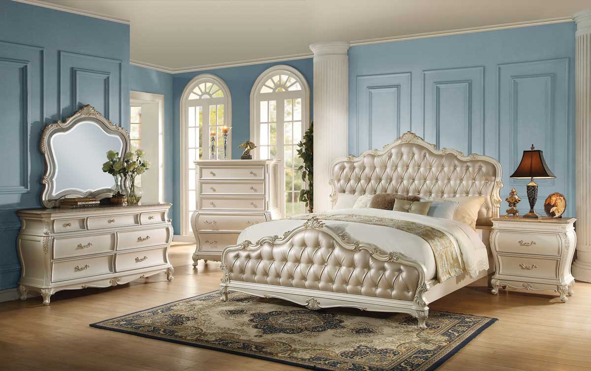 Best ideas about White Queen Bedroom Set . Save or Pin The Acme Q 4pcs Chantelle Rose Gold PU Pearl White Now.