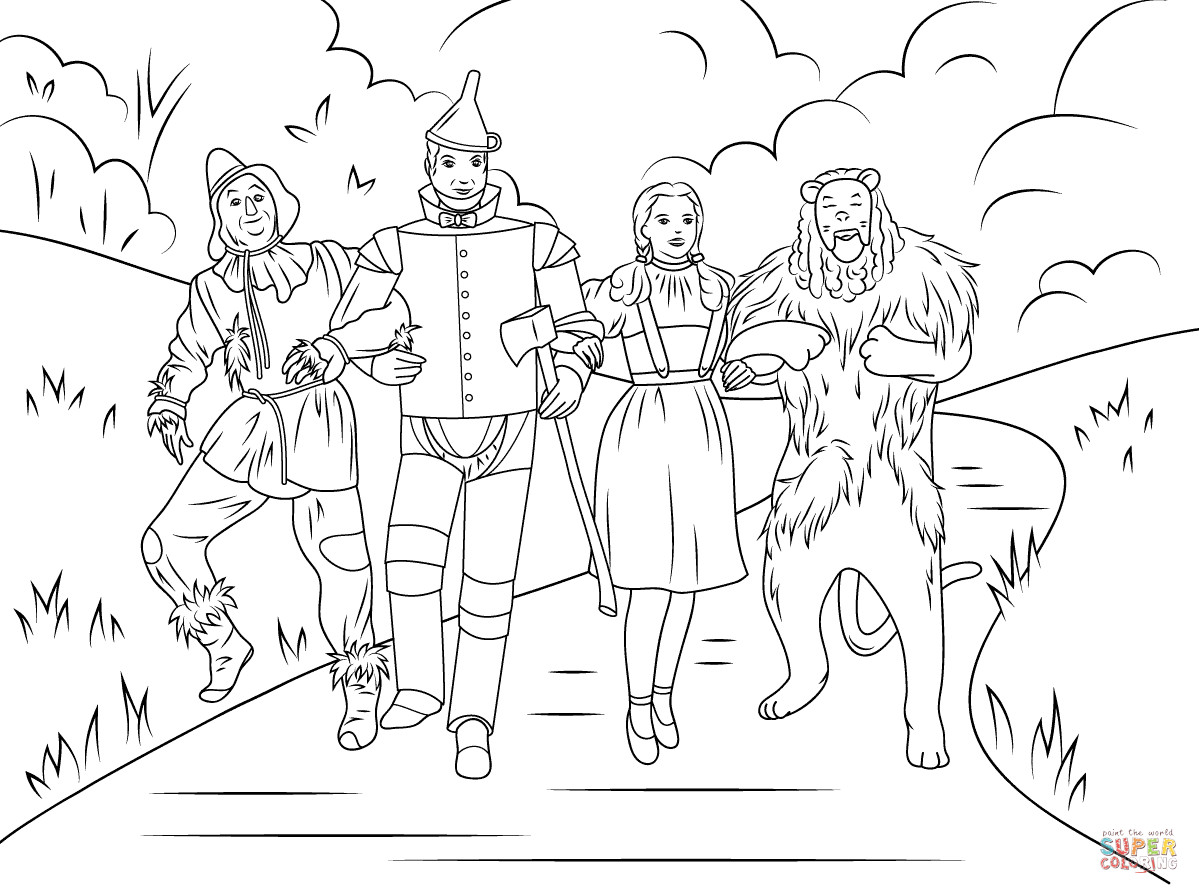 Best ideas about Wizard Of Oz Characters Free Coloring Sheets . Save or Pin Scarecrow Tin Man Dorothy And Cowardly Lion coloring Now.