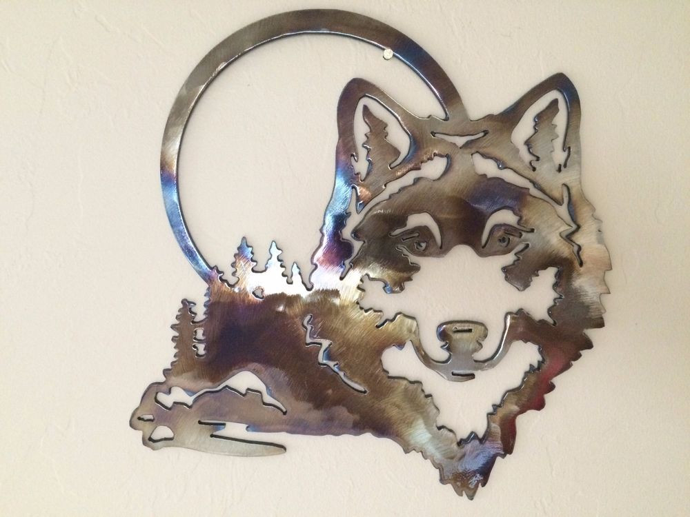 Best ideas about Wolf Wall Art . Save or Pin Wolf Scene w Moon Metal Wall Art Decor Now.